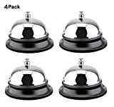 4 Count Call Bells, 3.3 inch Diameter, Chrome Finish, All-Metal Construction, Desk Bell Service Bell for Hotels, Schools, Restaurants, Reception Areas, Hospitals, Warehouses