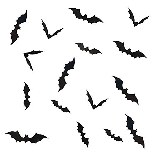 (NUOBESTY 72pcs PVC Stickers 3D Bat Wall Stickers Halloween Horrible Wall Decoration for Living Room Bedroom)