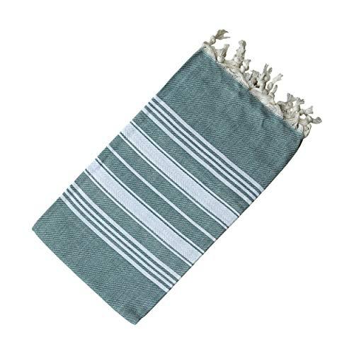 Dandelion - Basic Pattern - Naturally-Dyed Cotton Turkish Towel Peshtemal - 71x39 Inches - Olive Green