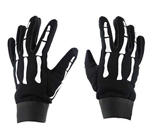 IKLeather Skeleton Hand Bones Fingers Motorcycle Biker Mechanic Gloves Work Premium Large Skeleton Hand Bones Fingers Motorcycle Biker (L) -