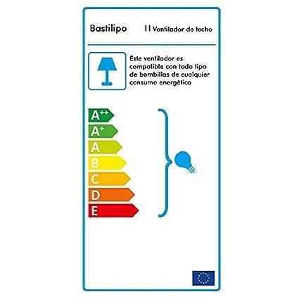 Bastilipo Ventilador Techo con Mando A Distancia E27, 60 W, Cuero, 105 X 41 cm: Amazon.es: Iluminación