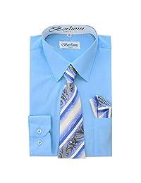 Boy's Dress Shirt, Necktie, and Hanky Set - Light Blue, Size 18