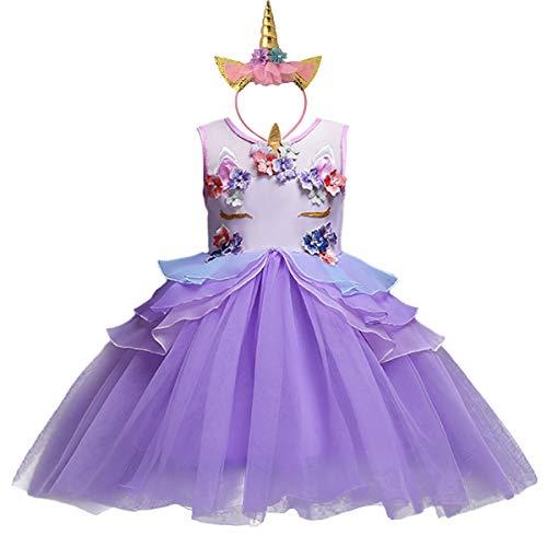 HOIZOSG Kleine meisjes Eenhoorn Verjaardag Jurk Prinses Kostuum Halloween Cosplay Kerst Carnaval Fancy Party Outfits w…