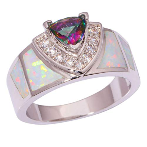 MARRLY.H Created White Fire Opal Mystic Zircon Cubic Zirconia Silver Plated for Women Jewelry Ring White 8