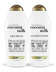 OGX Nourishing + Coconut Milk Shampoo & Conditioner Set, 25.4 Ounce (Set of 2)