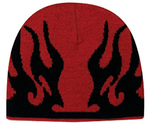 Flame Design Acrylic Knit Two Tone Color Beanie, 8