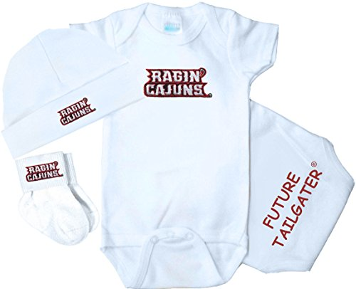 Future Tailgater Louisiana Lafayette Ragin Cajuns 3 Piece Baby Clothing Set (Newborn)