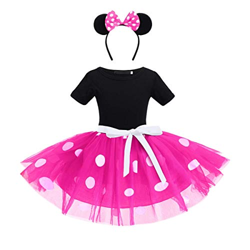 ODASDO Toddler Kids Baby Girls Polka Dots Dress Tutu Princess Costume Party Fancy Dress Up with Ear Headband for 1-6Y