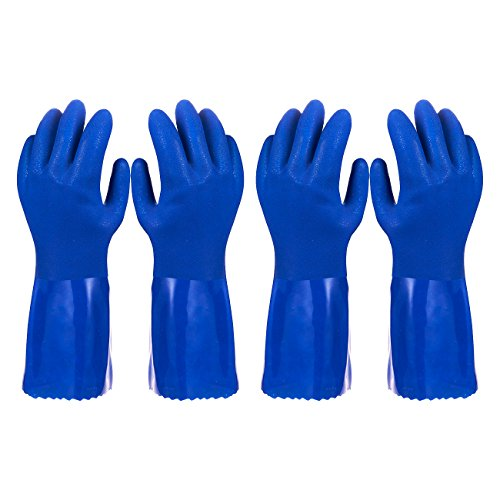 Rubber Lined Cotton Gloves - Pack of 2 Pairs Household Gloves - Cotton Lined Dish Gloves - Dishwashing Gloves - Rubber Gloves - Kitchen Gloves, Blue - Small Size