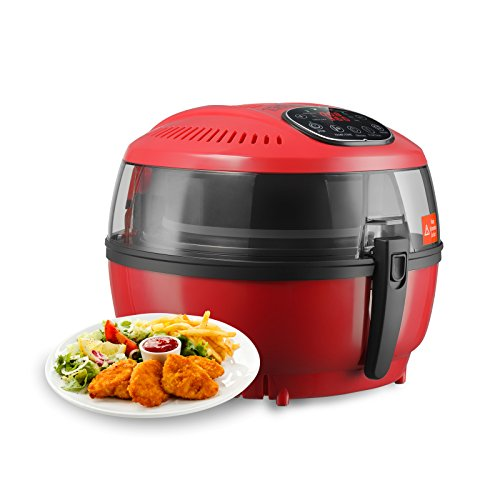 Kuppet Air Fryer 6 3Qt Oil Free Digital Electric Air Fryer W  Detachable Basket Handles   Timer  60 Minutes  Temperature  180  400   Control  1200W 1350W 300W 1500 1700W  Up To 80  Less Fat  Red