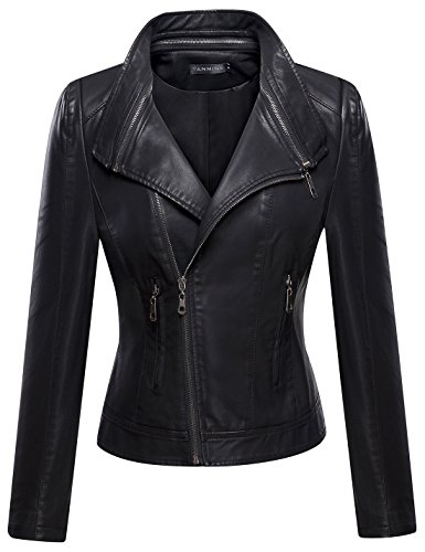 Tanming Women's Faux Leather Collar Moto Biker Short Coat Jacket (X-Small, ()