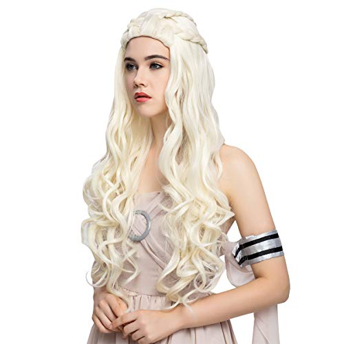 Daenerys Targaryen Cosplay Wig for Game of Thrones Season 7 - Khaleesi Costume Hair Wig (Light blonde)