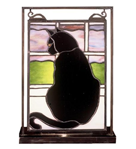 Cat in Window Lighted Mini Tabletop Window Panel - Meyda Tiffany Stained Glass Floor Lamp