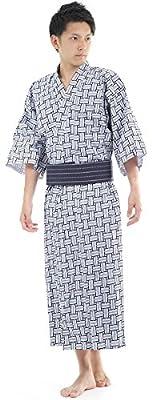K sera sera Yukata Mens Japanese Pajamas, Black and White, Large