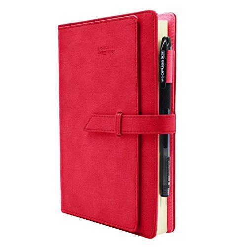 Planner 2018 Daily Calendar Schedule Organizer-Daily Weekly Monthly Yearly Journal-Stylish Line Notebook Hard PU Cover-Card Page,Monthly Mark,Dated,304 Refillable Pages,8.2X5.7Inches (Red) 2 Page Daily Dated Calendar