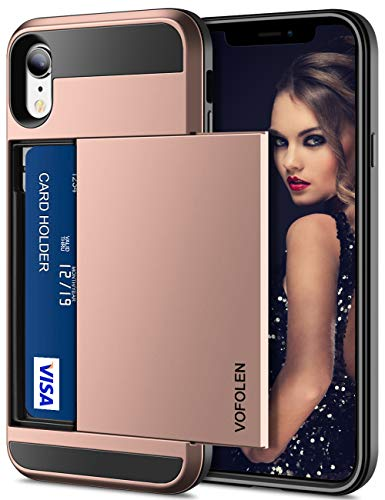 Vofolen Case for iPhone XR Case Wallet Card Holder Sliding Cover Credit Card Slot ID Pocket Dual Layer Protective Hard Shell Rugged TPU Hybrid Bumper Armor Case for iPhone XR 10R (Rose Gold)
