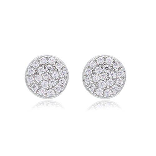 UNICORNJ Adult Tween Teen 14k White Gold Cubic Zirconia Pave Round Disc Stud Post Earrings 7mm Diameter by Unicornj