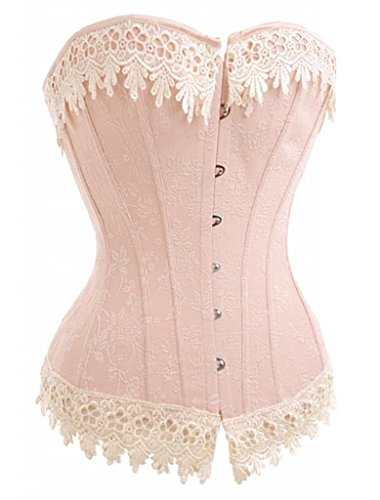 Lace Trim Corset (Alivila.Y Fashion Sexy Floral Lace Trim Corset 2606 With G-String-Pink-S/Bust:30-32inch Waist:24-26inch)