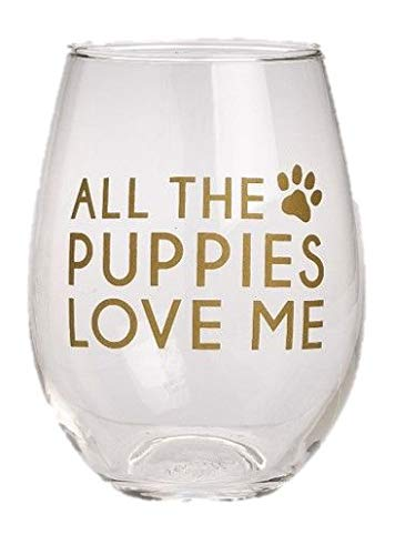 All the Puppies Love Me Paw Print Gold Foil 12 Ounce Stemless Wine -