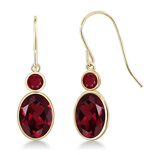 Gem Stone King 3.08 Ct Oval Red Rhodolite Garnet Red Ruby 14K Yellow Gold Earrings