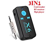 YETOR Bluetooth Receiver,3.5MM/ RCA Stereo Output,Bluetooth Audio Adapter for car for Home Stereo Sound System,USB Card Reader for Computers(Transmit Data) and TF Card mp3 Player-X6