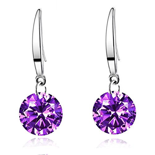 Sephla White Gold Plated 8.5 mm Naked Drill Super Sparkle Crystal Earrings For Women (Purple)