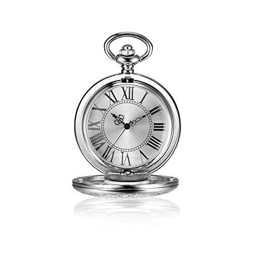 besseron Silber Ton Skelett Mechanische Taschenuhr Hand Wind römischen Ziffern Classic Gravierbarer mit Kette
