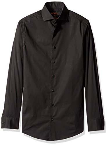 Ben Sherman Men's Solid Stretch Poplin Dress Shirt, Black, 16