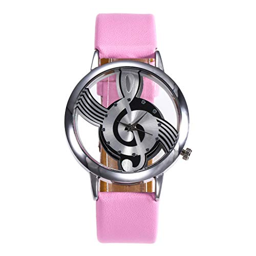 NXDA Wrist watch brand new leather strap quartz analog watch fashion hollow music characters easy to read dial (Pink) (Dial Jewelry Pink)