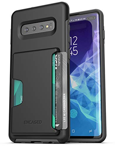 Encased Galaxy S10 Plus Wallet Case - Ultra Protective Cover with Card Holder Slot for Samsung S10+ (Phantom Black)