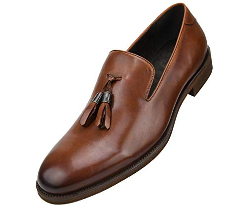 Asher Green Mens Genuine Woven Embossed Leather Loafer, Slip-On Dress Shoe, Wood-Like Sole