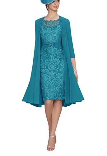 MythLove Women's A-Line Short Chiffon Scarf 2 pcs Round Neck Lace Bridal Mother of The Bride Dress Jade 22w