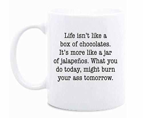WTOMUG Life Isnt Like A Box Of Chocolates Funny Personalized Mug Jar Of Jalapenos Coffee Mug Funny Quote Mug Sarcasm…