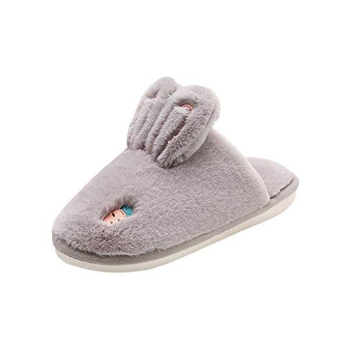 ANJUNIE Women Girls Platform Flat Footwear Warm Floor Home Cuty RABIT Ear Shoes Home Slipper