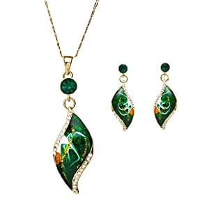 NEOGLORY Jewelry 14k Gold Plated Green Leaf Engagement Jewelry Sets Rhinestone Necklace Earrings for Women