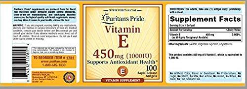 Puritan's Pride Vitamin E 1000 IU Softgels, 6.7 Ounce by Puritan's Pride (Image #3)'