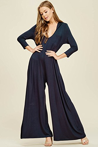Annabelle Women's Wide Leg Jumpsuit with 3/4 Sleeves and Round Neck Slate XX-Large J8067P by Annabelle U.S.A (Image #1)