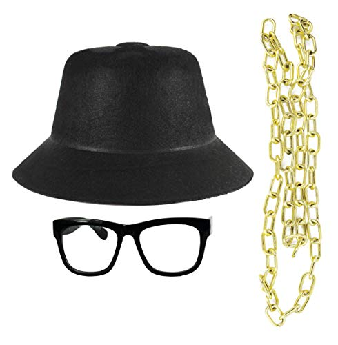 Set of Old School Rapper Hat, Bling and Glasses! One Size Fits All! Classic Hip Hop (Single) (Old-school-hip-hop-gang)