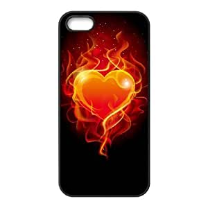 wugdiy Custom Hard Plastic Back Case Cover for iPhone 5,5S with Unique Design Fire Heart