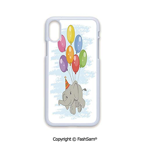 Fashion Printed Phone Case Compatible with iPhone X Black Edge Funny Flying Mammal with Colorful Balloons and Party Hat Comic Art Decorative 2D Print Hard Plastic Phone Case