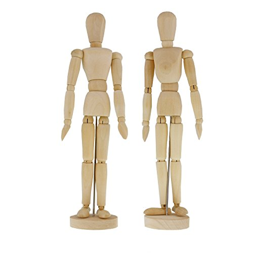 US Art Supply Wood 8'' Artist Drawing Manikin Articulated Mannequin with Base and Flexible Body - Perfect For Drawing the Human Figure (8'' Pair - Male & Female) by US Art Supply