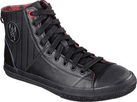 Skechers Men's Legacy Vulc Vader Lux Sneakers, Black/Red, 9.5 M -