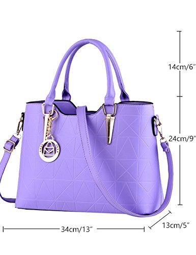 New Sac Leather Purple Glossy Bag Menschwear Pu Ivory à Ladies bandoulière Tote wFXdqFPBH0