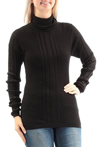 Dkny Black Wool Blend - DKNY $298 Womens New 1587 Black Turtle Neck Long Sleeve Casual Sweater S B+B