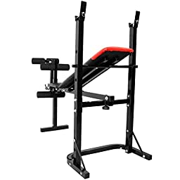Ainfox Adjustable Weightlifting Bed Weight Lifting Bench Leg Press Machine Portable with 40kg Barbel Set Home Office Black