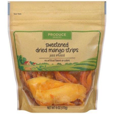 Produce Snacks Sweetened Dried Mango Strips, 6 oz