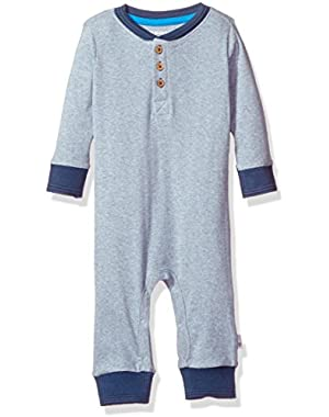 Baby Boys' Long Sleeve Organic Henley Coverall