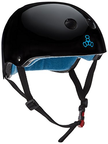 Triple 8 The Certified Sweatsaver Helmet for Skateboarding, BMX, Roller Skating and Action Sports, Black Glossy, S/M