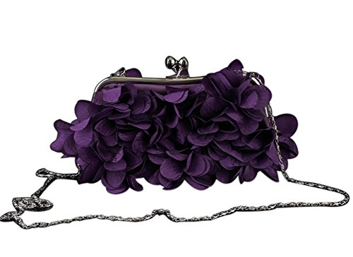 Clutch Evening Purple Women Purse Handbags Clutches Wedding Bags Flower YcZfq6z