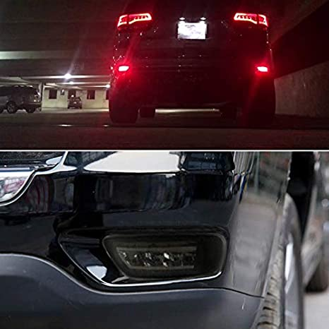 TurningMax Complete LED Smoked Lens Rear Bumper Reflectors Fog Brake Tail Lights Lamps Kit for 2011-up Jeep Grand Cherokee WK2 Compass and Dodge Journey